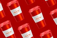 Modelo vermelho do copo de café do teste padrão no fundo foto de stock royalty free