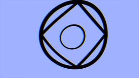 Modelo video hipnótico Animación psicodélica retra con formas geométricas, fondo azul Fondo geométrico del lazo stock de ilustración