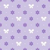 Modelo violeta inconsútil con las flores y las mariposas, vector ilustración del vector