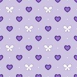 Modelo violeta inconsútil con los corazones y las mariposas, vector libre illustration