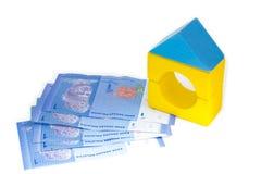 Modelo y billetes de banco de la casa. foto de archivo libre de regalías