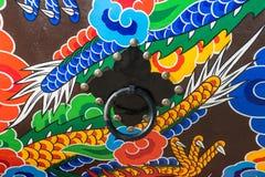 Modelo y botón tradicionales del tambor en Corea del Sur Foto de archivo