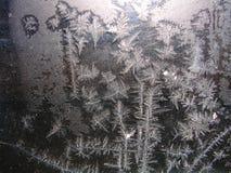 Modelo y luz del sol del hielo sobre el vidrio del invierno Foto de archivo libre de regalías