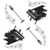 Modelo y micrófono inconsútiles del piano con las notas Imagen del vector libre illustration