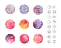 Modelos abstractos de la acuarela del círculo fijados con Fotos de archivo