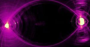 Modelos abstractos en fondo oscuro con las líneas púrpuras y amarillas partículas de las curvas almacen de metraje de vídeo