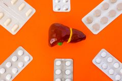 Modelos anatómicos del hígado rodeados por seis paquetes de ampolla con las píldoras blancas dentro de la estrella seis-acentuada Imágenes de archivo libres de regalías