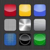 Modelos brillantes y metálicos del icono del app Imagenes de archivo