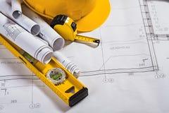 Modelos da arquitetura e ferramenta do trabalho Imagem de Stock Royalty Free