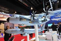 Modelos de Airbus A330 MRTT e A400M na exposição em Singapura Airshow Imagens de Stock