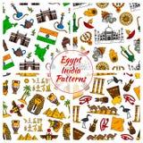 Modelos de cultura de Egipto y de la India libre illustration