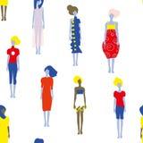 Modelos de forma no teste padrão sem emenda dos vestidos, ilustração gráfica Imagem de Stock Royalty Free
