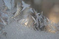 Modelos de Frost sobre el vidrio del invierno Imagenes de archivo