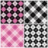 Modelos de la Argyle-Tela escocesa en negro y color de rosa Foto de archivo libre de regalías