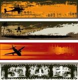Modelos de la bandera del Web del transporte aéreo de Grunge Fotos de archivo libres de regalías