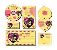Modelos de la tarjeta del día de San Valentín de Coffe fijados Fotos de archivo libres de regalías