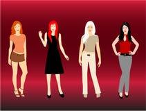 Modelos de las mujeres stock de ilustración