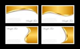 Modelos de las tarjetas de visita del oro Fotografía de archivo