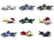 Modelos de las tortugas 3d Fotografía de archivo