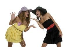 Modelos de manera con el sombrero Imágenes de archivo libres de regalías