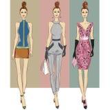 Modelos de moda en otoño invierno del estilo del bosquejo Fotografía de archivo libre de regalías
