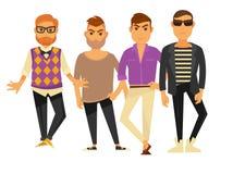 Modelos de moda de los hombres en diverso los iconos aislados del vector del styel de la ropa plano fijados Fotos de archivo