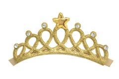 Modelos de oro de la corona en el fondo blanco Foto de archivo