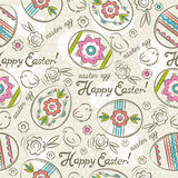 Modelos de Pascua con los huevos, las flores y los polluelos de Pascua Fotos de archivo libres de regalías