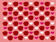 Modelos de rosas rojas hermosas con el fondo rosado y los corazones blancos y rosados del amor fotos de archivo