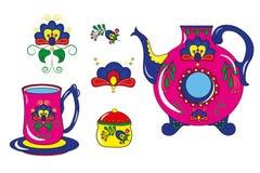 Modelos decorativos en los platos Imagenes de archivo