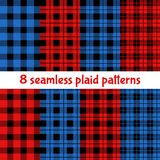 Modelos del control de la tela escocesa y del búfalo Modelos rojos, negros, beige de la tela escocesa, del tartán y de la guinga ilustración del vector