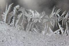 Modelos del hielo del invierno en ventana Imagen de archivo libre de regalías