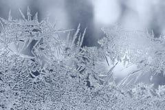 Modelos del hielo del invierno en ventana Fotografía de archivo