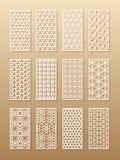 12 modelos del laser para las paredes del sitio en el estilo árabe Ornamento oriental tradicional en un rectángulo para el diseño stock de ilustración