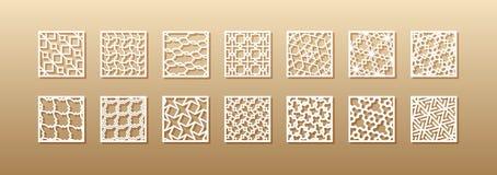 12 modelos del laser para las paredes del sitio en el estilo árabe Ornamento oriental tradicional en un rectángulo para el diseño ilustración del vector