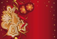Modelos del pan de jengibre de la Navidad rojos Imagenes de archivo