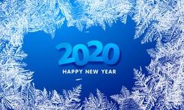 Modelos 2020 del vector hechos por el fondo azul del invierno de Frost para los dise?os de la Navidad Etiqueta tipogr?fica de Nav fotos de archivo