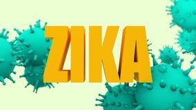 Modelos del virus y texto de Zika Imagenes de archivo