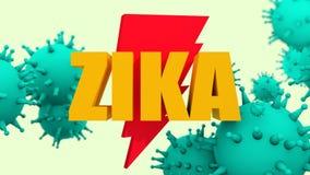 Modelos del virus y texto de Zika Imagen de archivo libre de regalías
