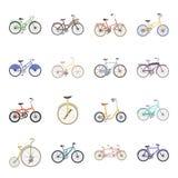 Modelos diferentes das bicicletas Os ícones ajustados da coleção da bicicleta diferente no estilo dos desenhos animados vector a  Imagens de Stock
