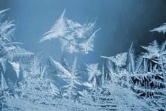 Modelos escarchados del hielo en la ventana Foto de archivo libre de regalías