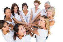 Modelos femeninos que se unen a las manos en un círculo y que miran la cámara Imagenes de archivo