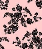 Modelos florales y del pájaro orientales Imagen de archivo