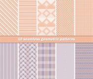 10 modelos geométricos abstractos inconsútiles en colo anaranjado y de la lila stock de ilustración