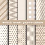 10 modelos geométricos inconsútiles clásicos de los colores del café Fotografía de archivo libre de regalías