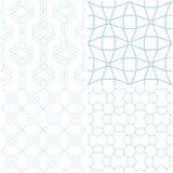 Modelos geométricos Sistema de elementos azules en blanco Fondos inconsútiles Fotografía de archivo libre de regalías