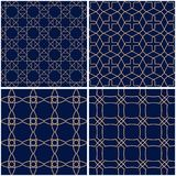 Modelos geométricos Sistema de fondos inconsútiles azules de oro Imagen de archivo libre de regalías