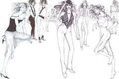 Modelos glamoroso elegantes ilustração stock