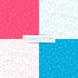 Modelos inconsútiles azules y rosados Foto de archivo libre de regalías