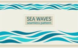 Modelos inconsútiles con las ondas estilizadas del mar Fotografía de archivo libre de regalías